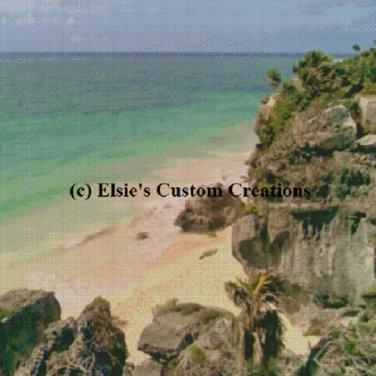 Tulum Mexico Ocean View 1 - PDF Cross Stitch Pattern