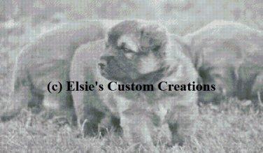 Puppies At Play - Grey Scale - PDF Cross Stitch Pattern
