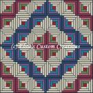 Full Size Quilt Log Cabin Barn Raise - PDF Cross Stitch Pattern