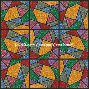 Full Size Quilt Stained Glass Crazy Quilt - PDF Cross Stitch Pattern
