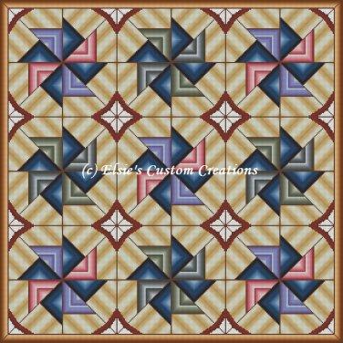 Full Size Quilt Spiral Pinwheel 2 - PDF Cross Stitch Pattern