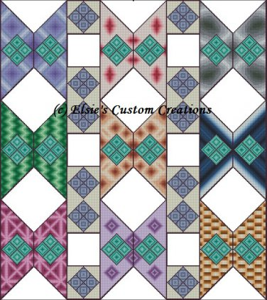 Shaped Quilt Butterflies Squared - PDF Cross Stitch Pattern