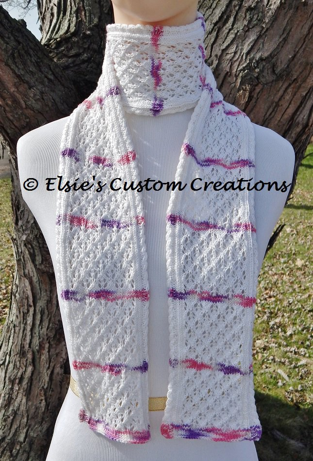 Mesh Lace Knitting Pattern : Cabled English Mesh Lace Scarf - PDF Knitting Pattern