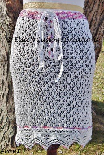 English Mesh Lace Over Skirt - PDF Knitting Pattern