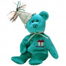 TY Beanie Babies DECEMBER the Birthday Bear with Hat (MINT with tags)