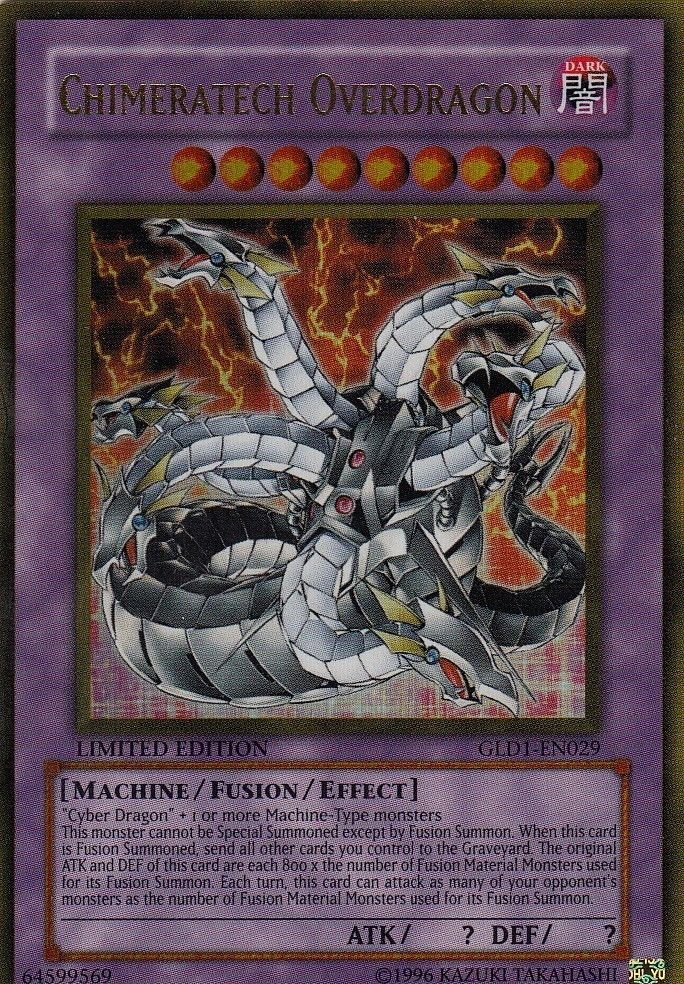 Yugioh 2008 Gold Series Ultra Rare Single Card Chimeratech Overdragon GLD1-EN029