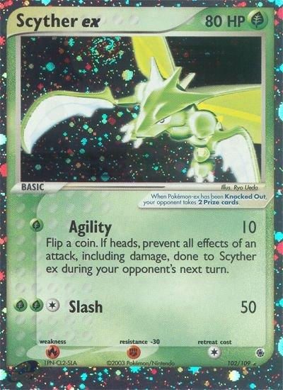 Pokemon EX Ruby & Sapphire Single Card Holofoil Rare Scyther EX 102/109