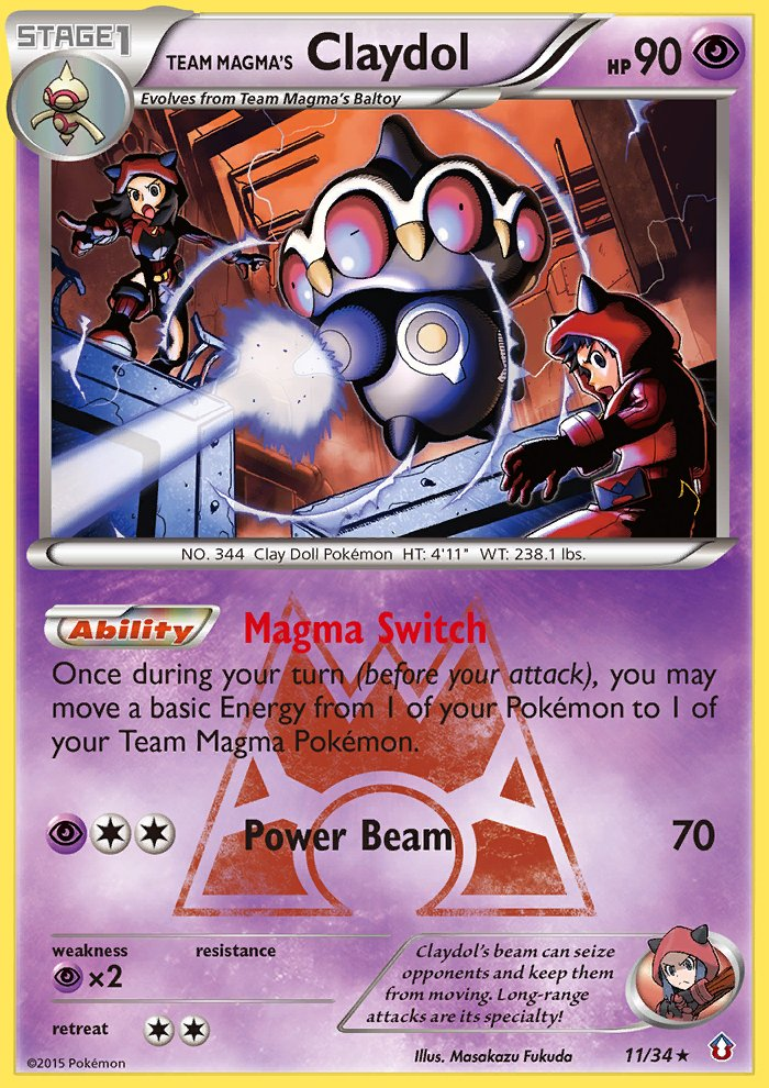 Pokemon Double Crisis Single Card Rare Holo Team Magma's Claydol 11/34