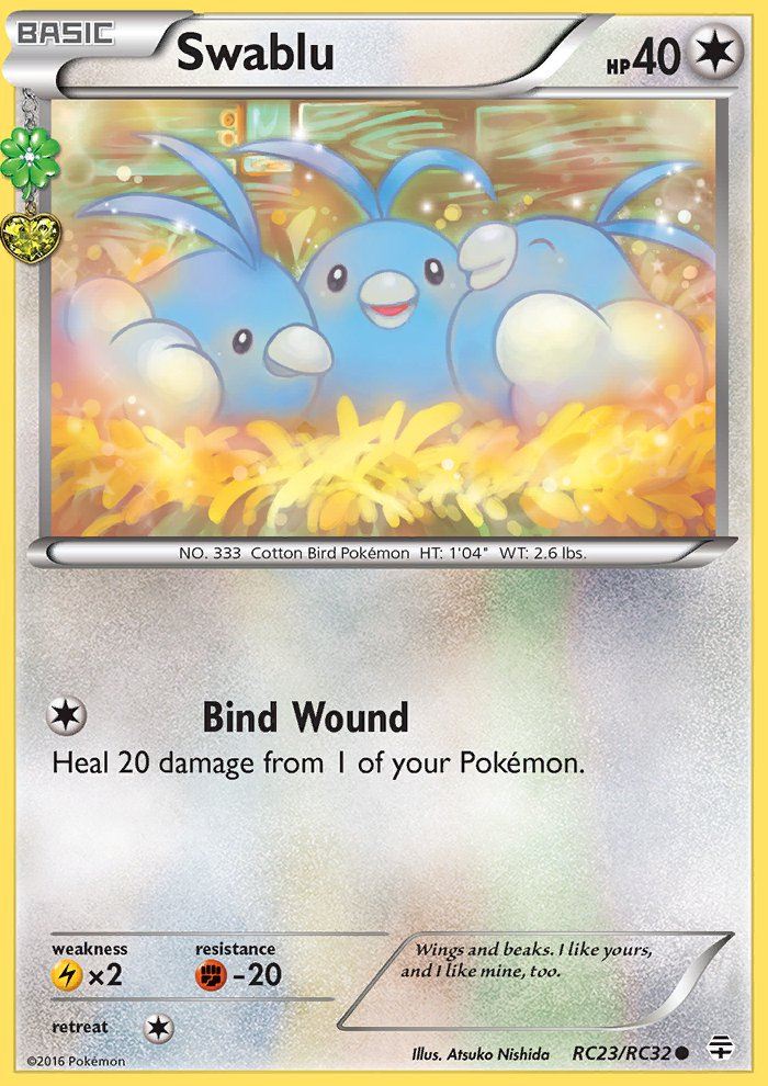 Pokemon Generations Radiant Collection Single Card Common Swablu RC23/RC32