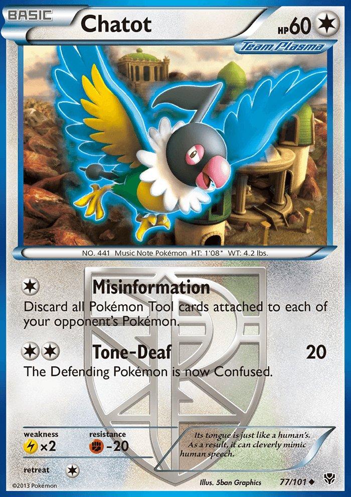 Pokemon B&W Plasma Blast Single Card Uncommon Chatot 77/101