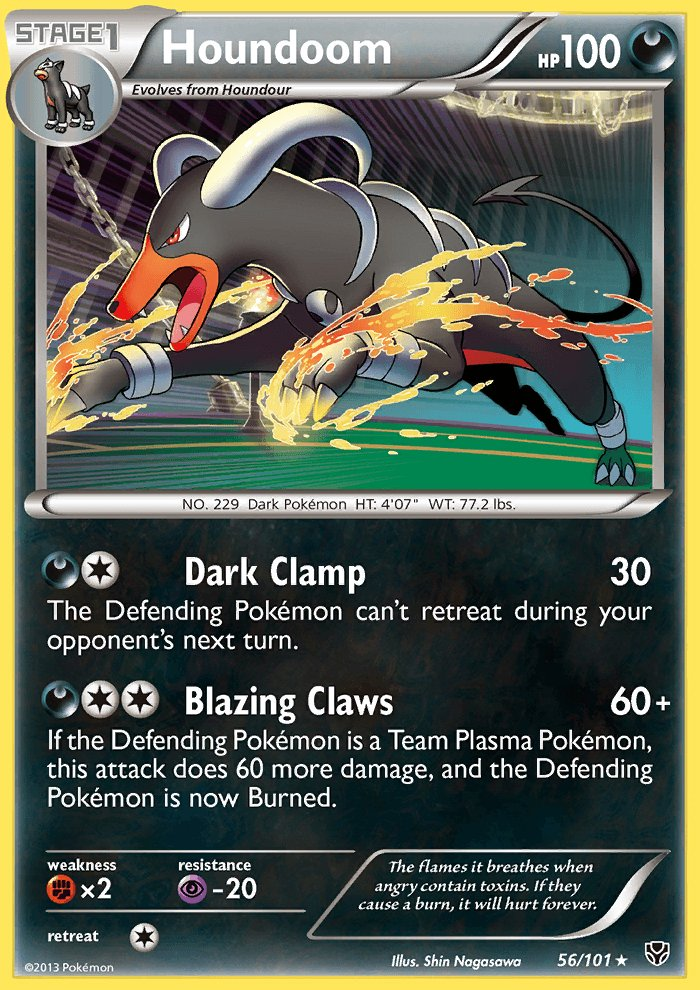 Pokemon B&W Plasma Blast Single Card Rare Holo Houndoom 56/101