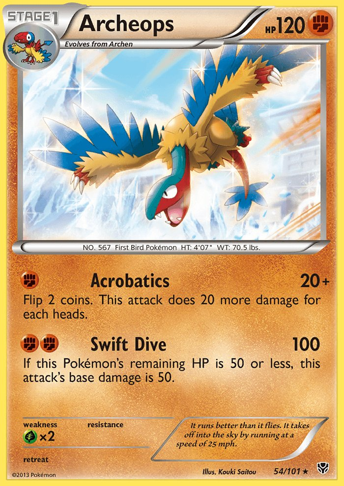 Pokemon B&W Plasma Blast Single Card Rare Holo Archeops 54/101