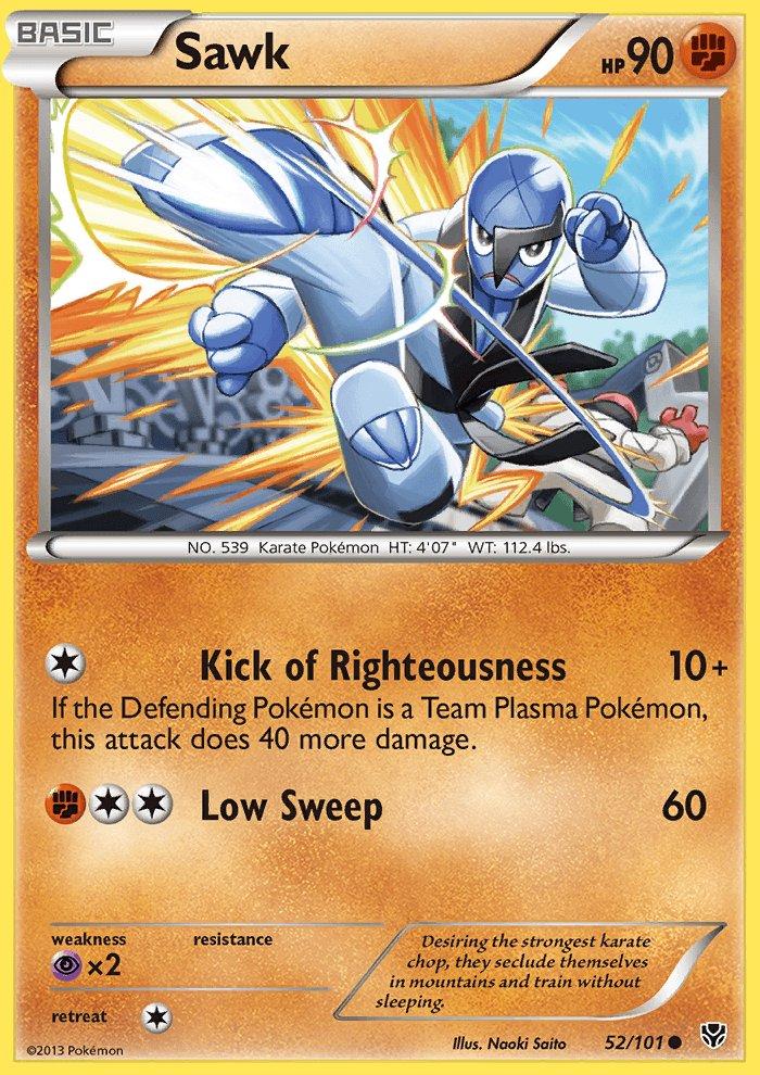 Pokemon B&W Plasma Blast Single Card Common Sawk 52/101