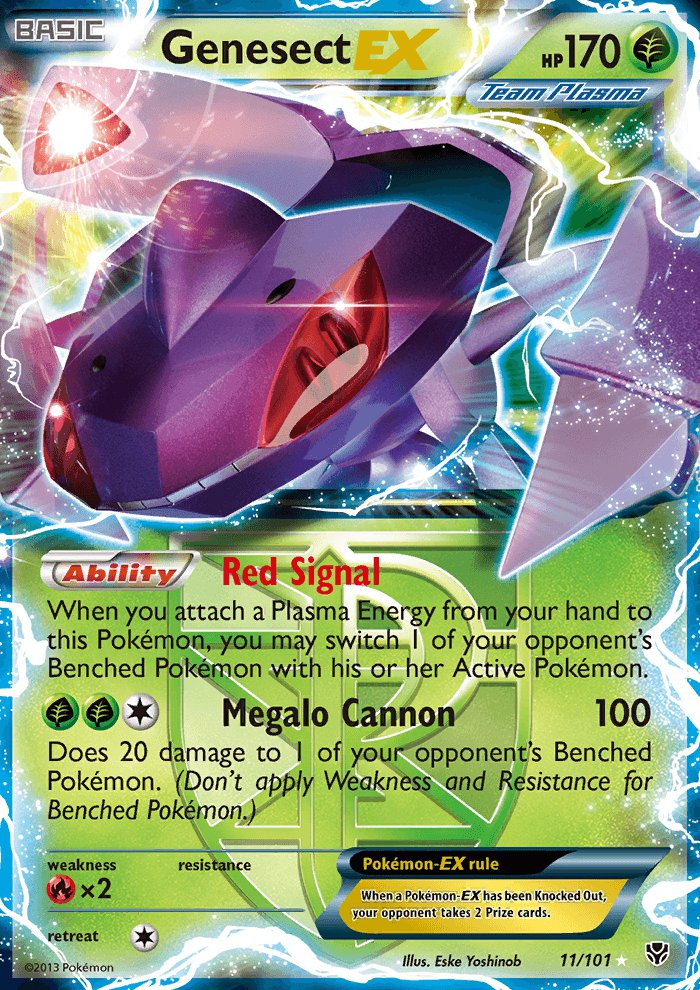 Pokemon B&W Plasma Blast Single Card Rare Holo EX Genesect EX 11/101