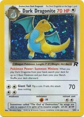 Pokemon Team Rocket Single Card Rare Holo Dark Dragonite 5/82