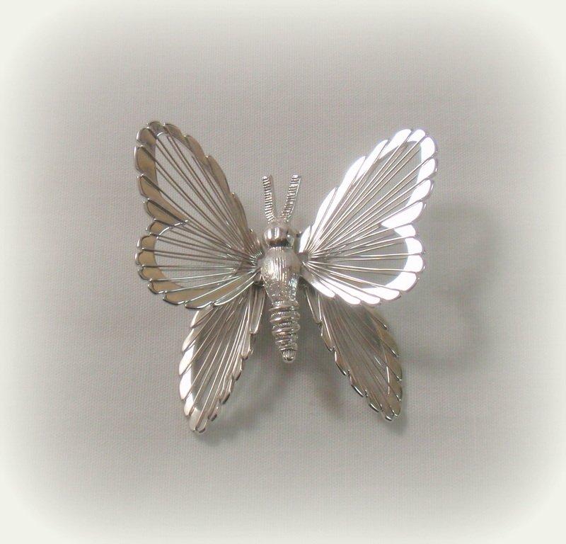 Monet Wired Butterfly Brooch Pin Retro Gossamer Wings Bright Silver