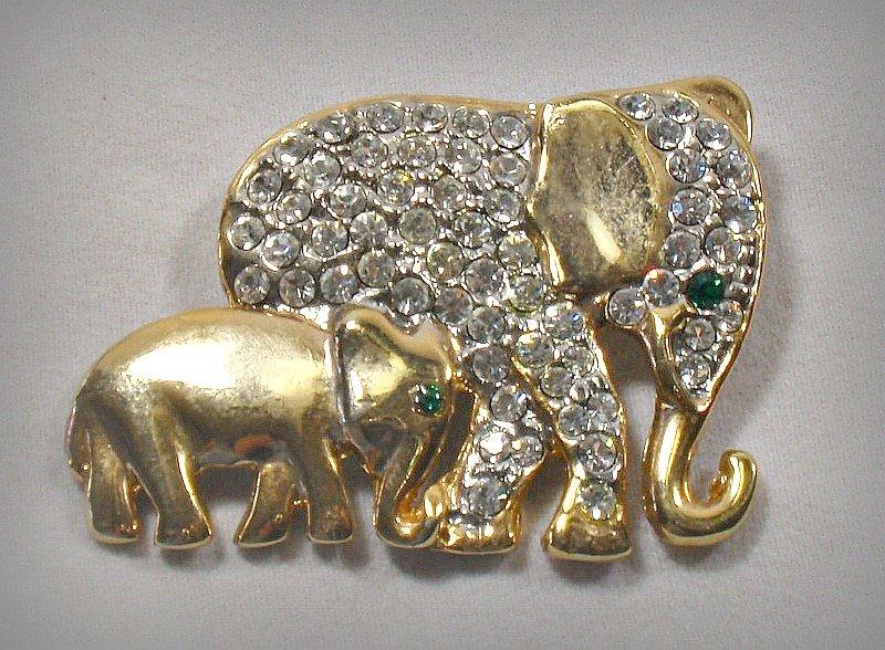 Vintage Elephant Mother & Baby Pin Pave Set Rhinestones Wildlife Brooch