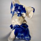 Vintage Blue Drip Pottery Dog Figurine Planter American Bisque?