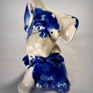 Vintage Blue Drip Pottery Dog Figurine Planter American Bisque?