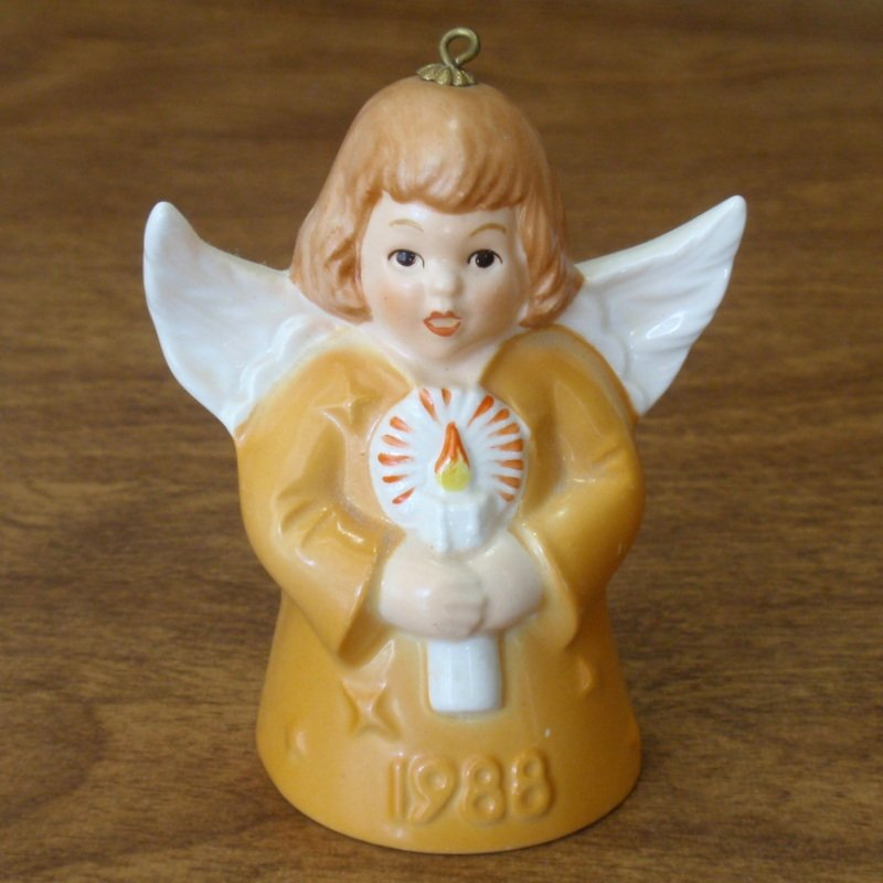 Vintage Goebel Angel Bell Christmas Ornament 1988 With Candle Yellow 13th Annual