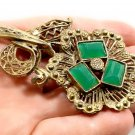 Vintage L/N Art Deco Chrysoprase Glass Flower Pin Brooch Jewelry Little Nemo
