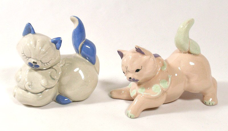 Vintage Kay Finch California Art Pottery Cat Kitten Figurines Muff and Puff