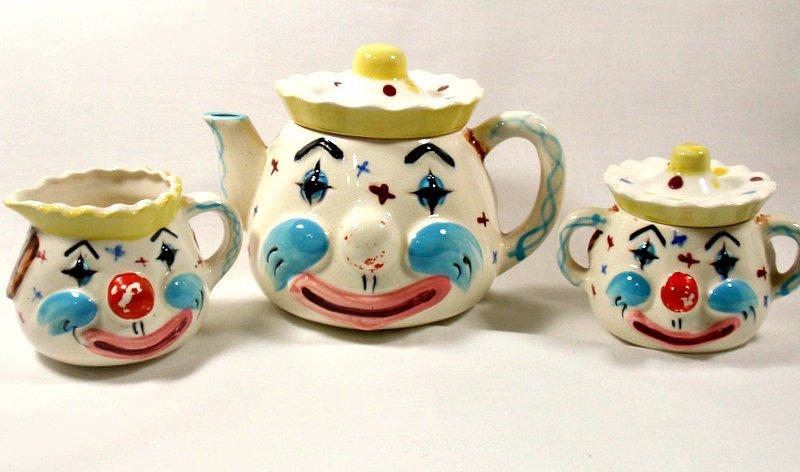 Vintage Lipper & Mann Clown Teapot Sugar Bowl Creamer Set MIJ Japan 5 Pc