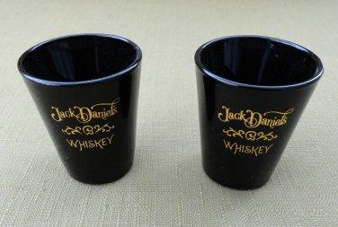 Pair of Jack Daniel's Whiskey Black Shot Glasses with Gold Tone Logos