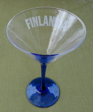 Finlandia Vodka Cobalt Blue Stem Footed Martini Glass by Luminarc France