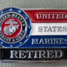 United States Marines Retired Red White Blue Black Enameled Brass Belt Buckle