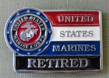 United States Marines Retired Red White Blue Black Enameled Brass Belt Buckle