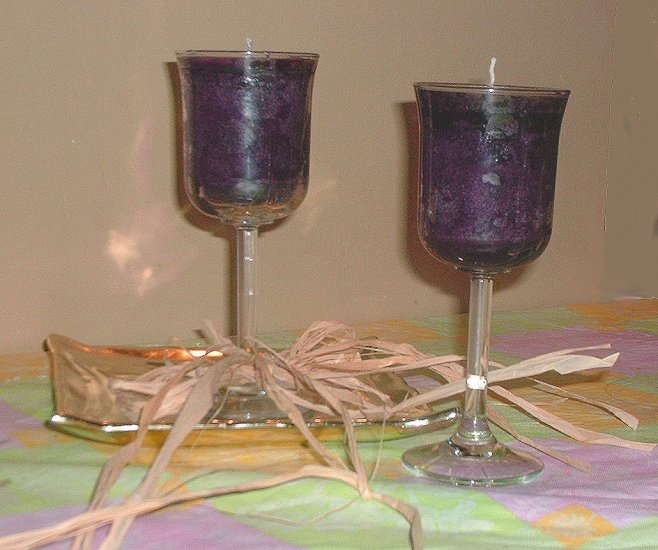 Mabon Muscadine (Grape) Wine Candle in Wineglass