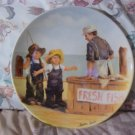 KNOWLES Fish Story Decor Plate 1983 Fishing Friends