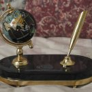 EXECUTIVE MINI GLOBE Pen Holder Black Base Brass Trim