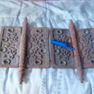 Ornate 2 Cast Iron Antique Door Hinges Cracked Leafs