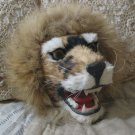 LION s Head Wall Plaque Made with Rabbit Fur 10 X 9 in