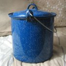 STEW POT Cooking Camping Blue Speckled Enamel With Lid