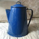 COFFEE POT Percolator Camping Blue Speckled Enamel