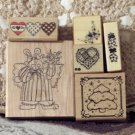 RUBBER INK Stamps 6 Used Different Sizes Themes Mixed