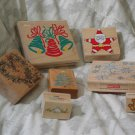 CHRISTMAS Rubber Ink Stamps Loose Set Of 7 1990s Used
