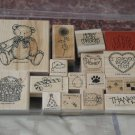 STAMPIN UP Wood Block Variety Set Of 17 Ink Stamp Used