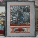 HARLEY DAVIDSON Motorcycle Picture And Patch Framed