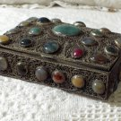 SILVER Tone Antique Box With Stones Made In India