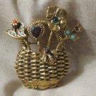 GOLDETTE Gold Basket Brooch Rhinestone Vintage Jewelry