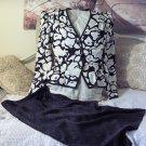 SILK Black White Dress Skirt Blouse Sz 12 Classy Used