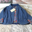 QVC Blue Denim Women's Jacket Coat Rose Trim Unused