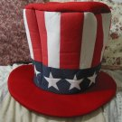 RED WHITE BLUE Uncle Sam Clothe Top Hat 9 in Tall Used