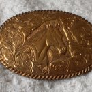 CRUMRINE Bronze Western Horse Theme Belt Buckle Used