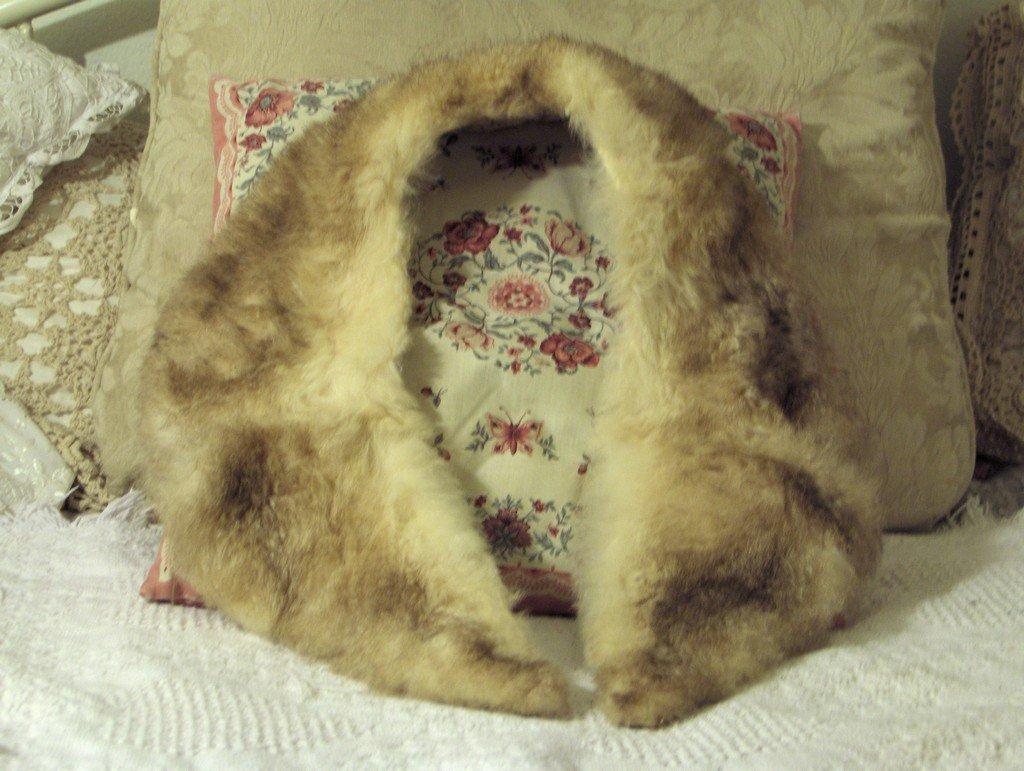 BEIGE Australian Possum Fur Wrap Approx 38 Inch Length