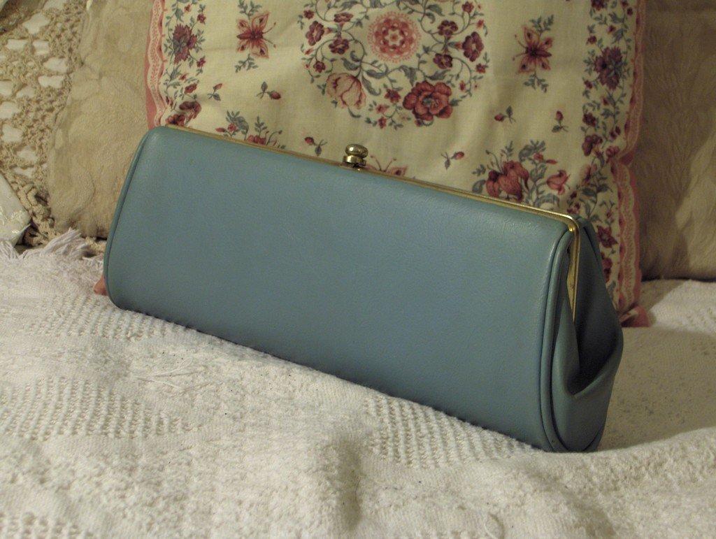CLUTCH PURSE Vintage Old Blue Handbag Dress Accessory